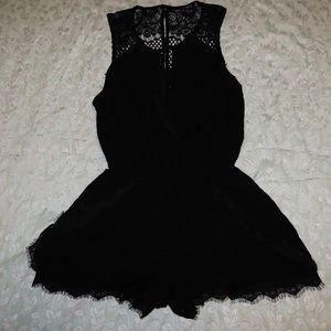 Black Romper with Lace and Button Front